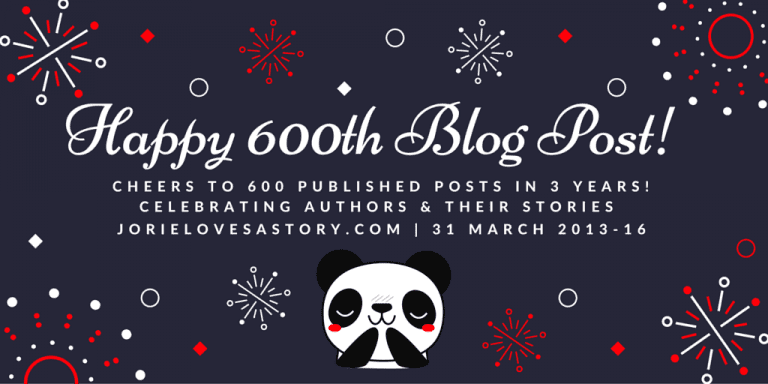Happy 600th Blog Post badge created by Jorie in Canva.