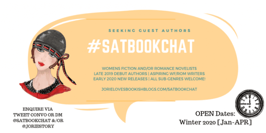 #SatBookChat Seeking Guest Author banner created by Jorie in Canva.